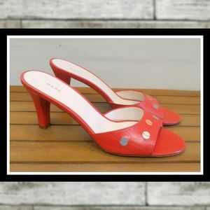 MARC JACOBS Leather Open Toe Kitten Heels Sandals